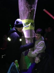 "Sophie, ""Big Billy"" and ""Little Billy"" tree hugging Morton Arboretum Dec 2013"